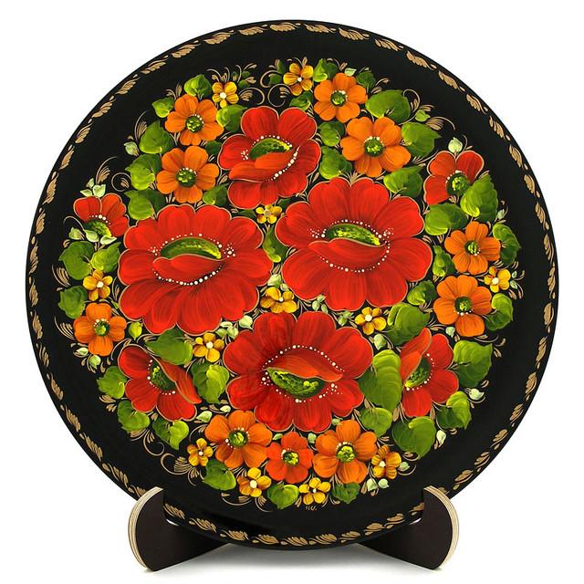 Расписная тарелка в технике Петриковская роспись. Мак-мелкоцвет