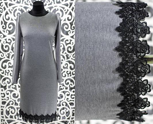 """Шикарное женское платье """"Французский трикотаж"""" серое с кружевом  50 размер батал, фото 2"""