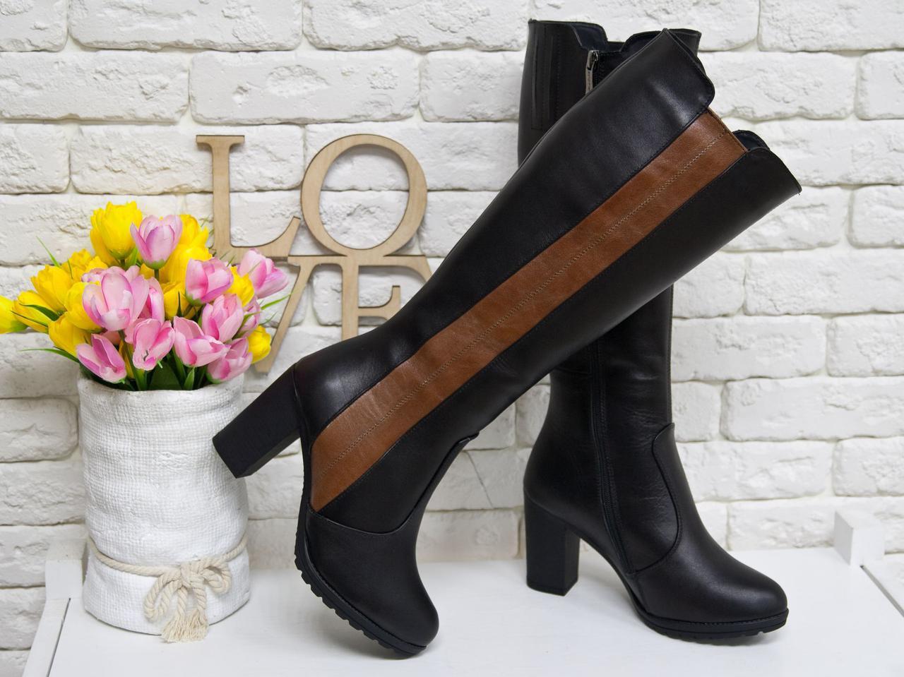 28873554c Сапоги женские из натуральной кожи черного и коричневого цвета на не  высоком устойчивом каблуке, коллекция