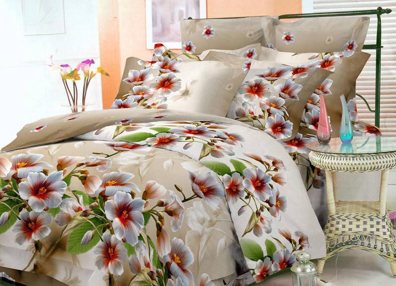 """Двоспальний постільний комплект """"Абрикосовий цвіт"""", фото 1"""