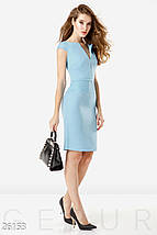 Деловое платье до колен с молнией сзади облегающее голубое, фото 2