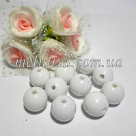 Бусины акриловые, глянцевые, 12 мм (10 шт), цвет белый