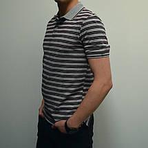 Остались размеры 46,48,50, Мужская футболка Поло, 100% хлопок, тенниска - серая, коричневая полоска, фото 3