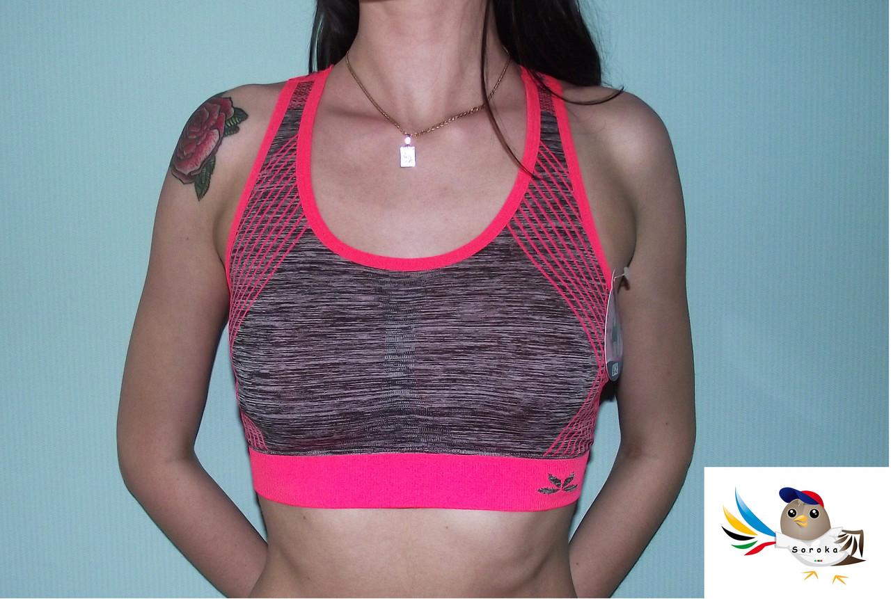 1817e7a41380 Топ (майка)(серый миланж с розовым) женский спортивный для спорта и фитнеса  размер S-M