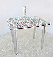 """Стол кухонный Maxi DT DX 900/800 """"прозрачно-коричневый"""" стекло, хром"""