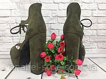 Босоножки замшевые цвета хаки на устойчивом каблуке носок открыт пятка закрыта шнурочек Код 1589, фото 2