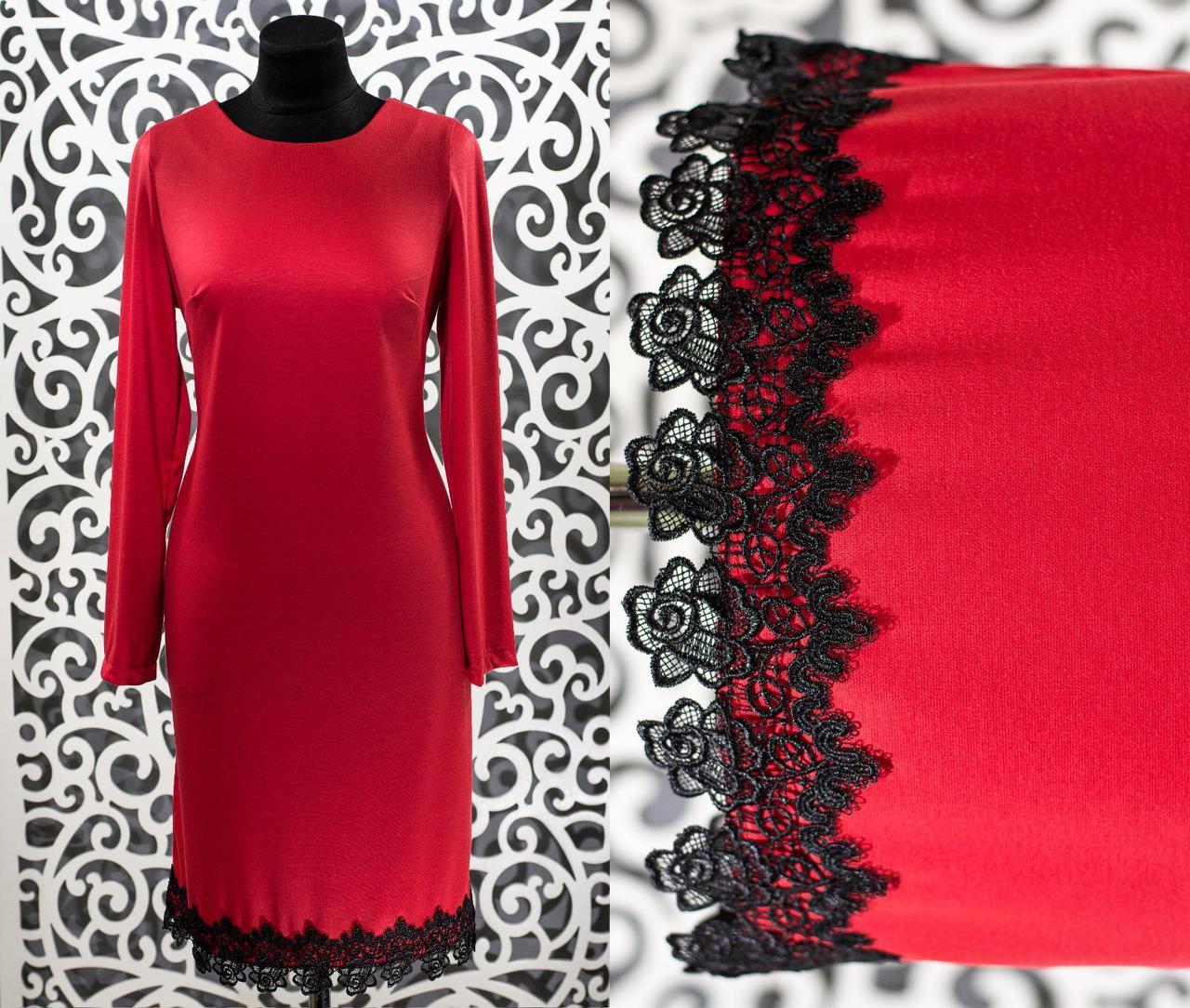 """Шикарное женское платье """"Французский трикотаж"""" с кружевом красный 48, 50 размер батал"""