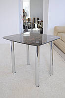 "Стол кухонный Maxi DT R 800/680 ""черно-коричневий"" стекло, хром, фото 1"