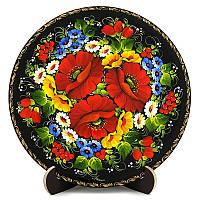 Тарелка декоративная. Украинский сувенир. Петриковская роспись. Мак-ноготок., фото 1