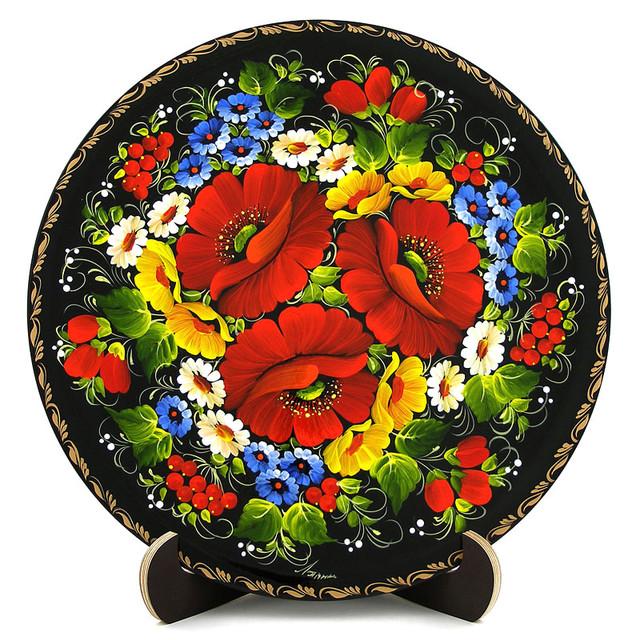 Расписная тарелка в технике Петриковская роспись. Мак-ноготок
