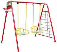 Комплекс игровой: качели+гладиаторская сетка+баскетбольное кольцо+дартс!, фото 1