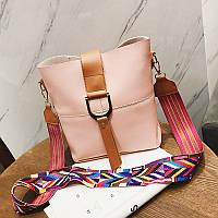 Жіноча сумка рожева з кольоровим плечовим ремінцем набір 2в1 екокожа опт, фото 1