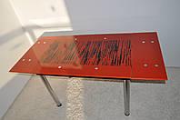 """Стіл скляний обідній розкладний  Maxi DT TR 1100/800 """"арт-зебра"""" червоний"""