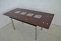 """Обеденный стол раскладной Maxi DT TR 1100/800 """"тамплиер"""" коричневый стекло, хром"""