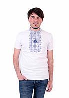 Футболка чоловіча білого кольору з синім орнаментом зорепад