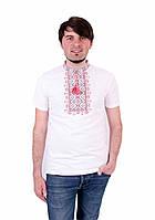 Футболка чоловіча білого кольору з червоним орнаментом зорепад