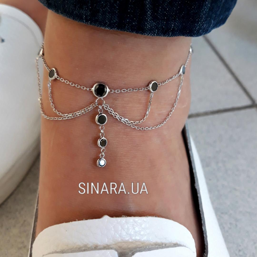 Браслет на ногу с висюльками серебро 925 - Серебряный браслет на ногу