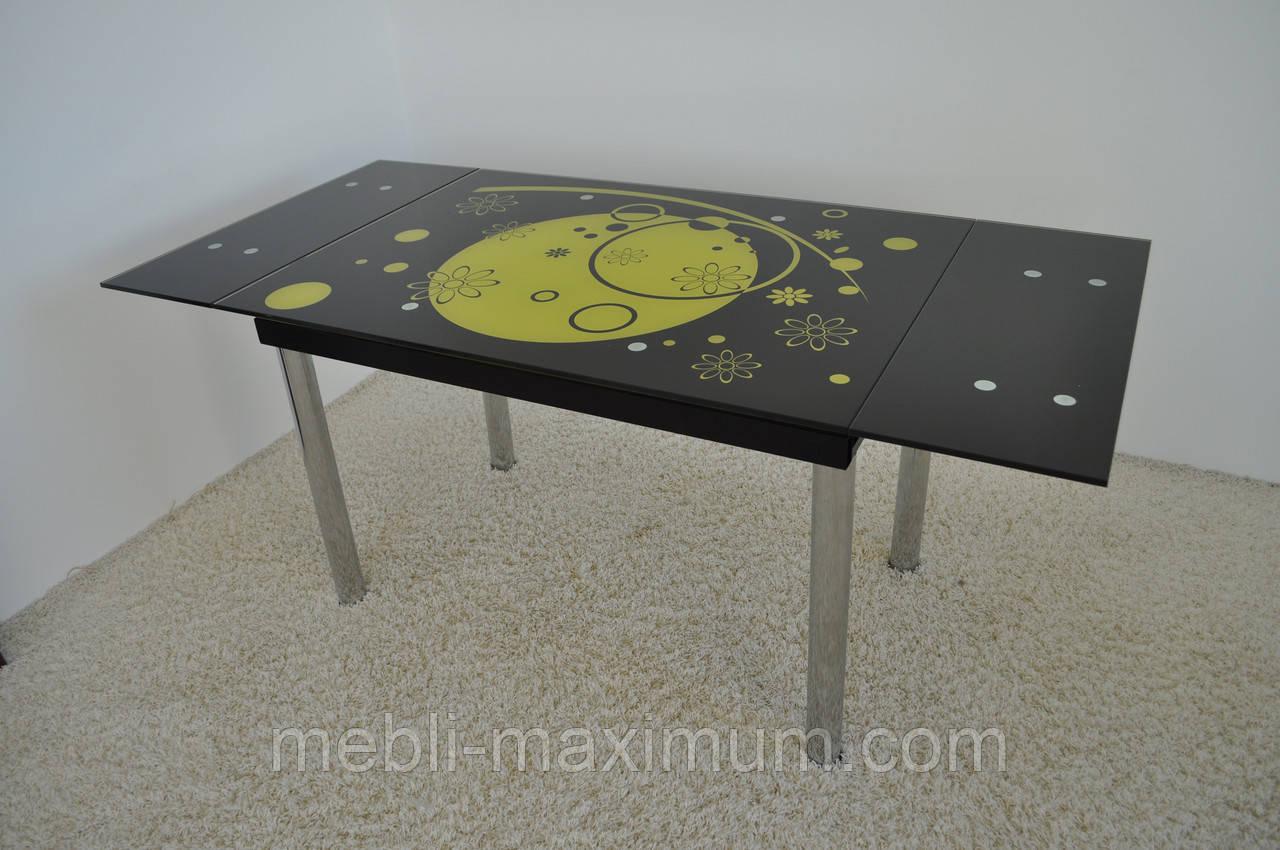Стіл  скляний обідній розкладний  Maxi DT TR 1100/800 чорний з малюнком, фото 1
