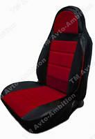 Красные Чехлы на сиденья из кожзама , Автоткани, экокожа, Комбинированные, пилоты ВАЗ 2101