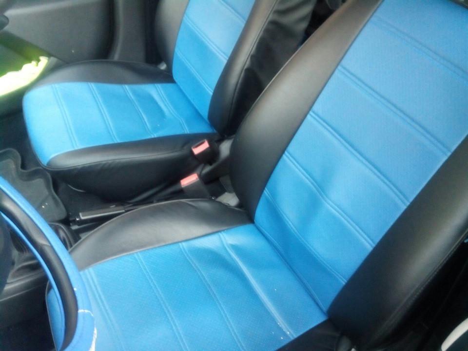 Синие Чехлы на сиденья из кожзама , Автоткани, экокожа, Комбинированные, пилоты ВАЗ 2101