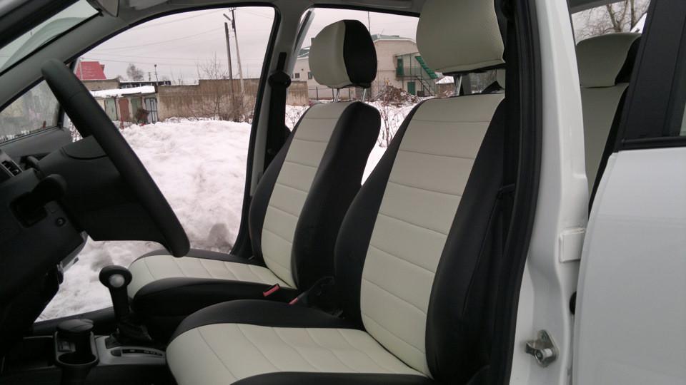 Белые  Чехлы на сиденья из кожзама , Автоткани, экокожа, Комбинированные, пилоты ВАЗ 2101