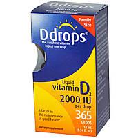 Ddrops, Жидкий витамин D3, 2000 МЕ, 0,34 жидких унций (10 мл)