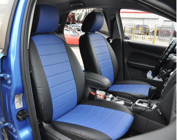 Синие Чехлы на сиденья из кожзама , Автоткани, экокожа, Комбинированные, пилоты ВАЗ 2106