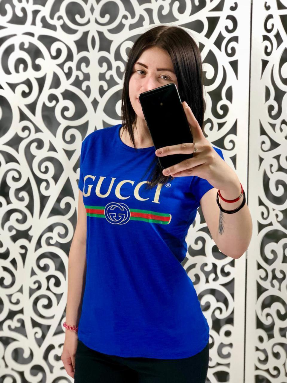 Женская футболка в стиле Gucci электрик 44, 46, 48 размер норма