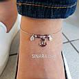 Браслет на ногу с висюльками Морской Якорь Серебро 925 пробы - Серебряный браслет на ногу, фото 4
