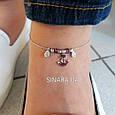Браслет на ногу с висюльками Морской Якорь Серебро 925 пробы - Серебряный браслет на ногу, фото 3