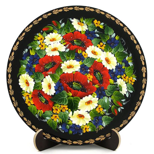Расписная тарелка в технике Петриковская роспись. Танок квітів