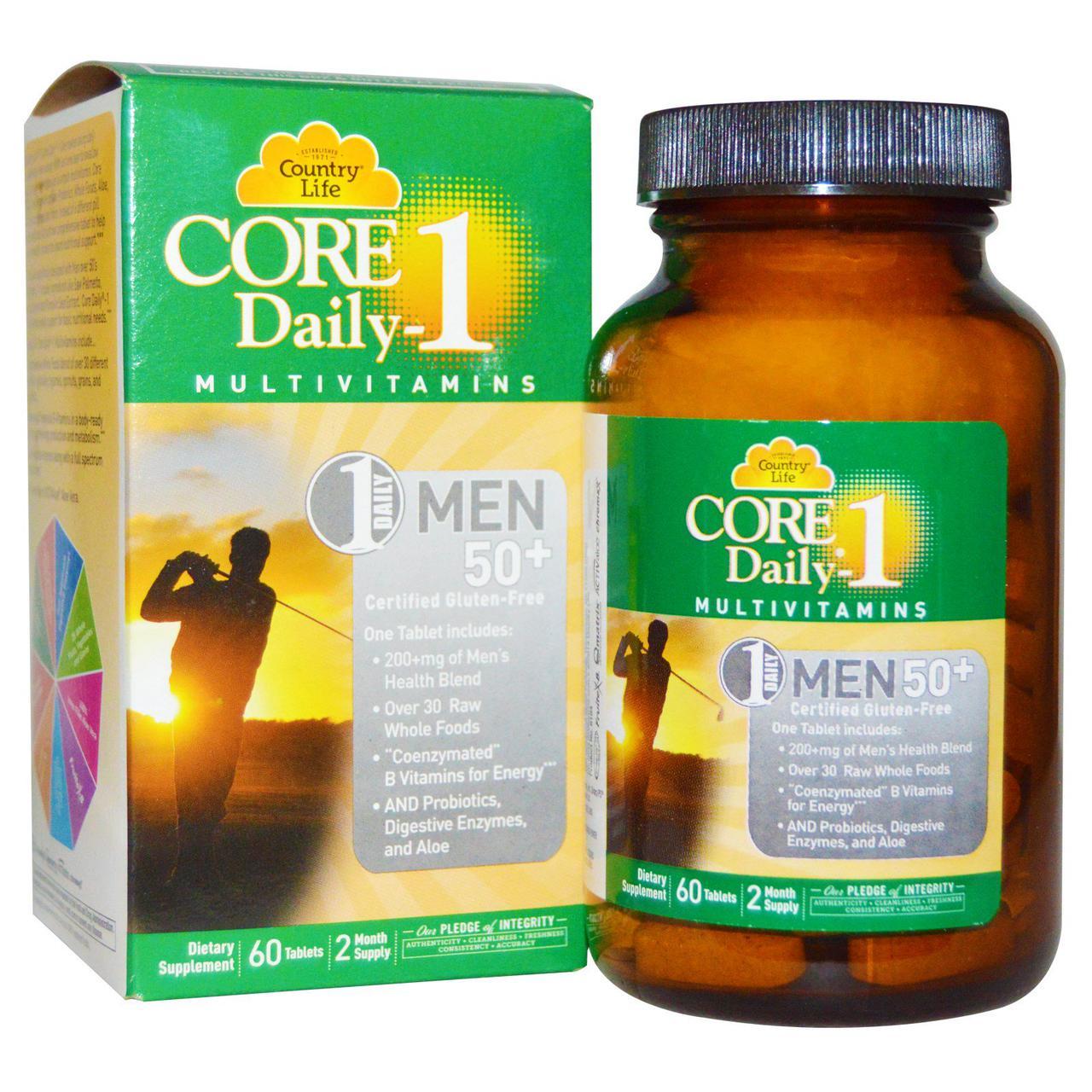 Country Life, Core Daily-1, Мультивитамины, для Мужчин 50+, 60 таблеток