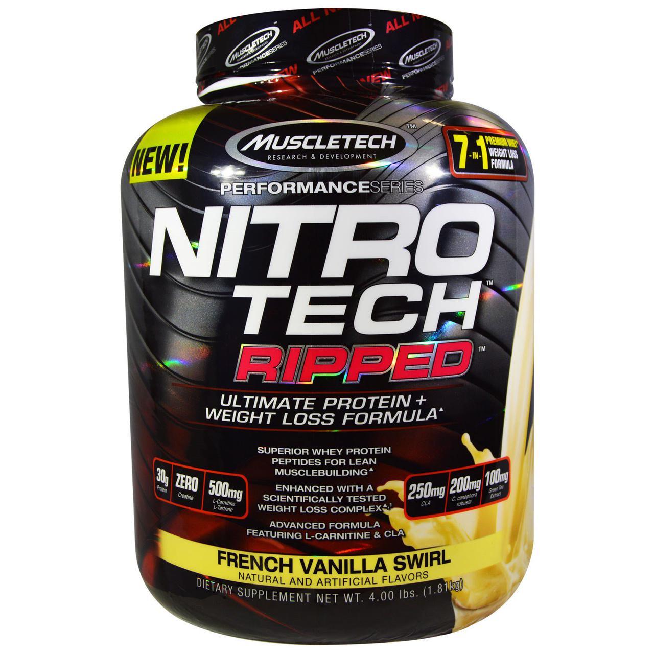 """Muscletech, Nitro Tech, Ripped, окончательная формула """"Белок + потеря веса"""", со вкусом французской ванили, 4,00 фунта (1,81 кг)"""