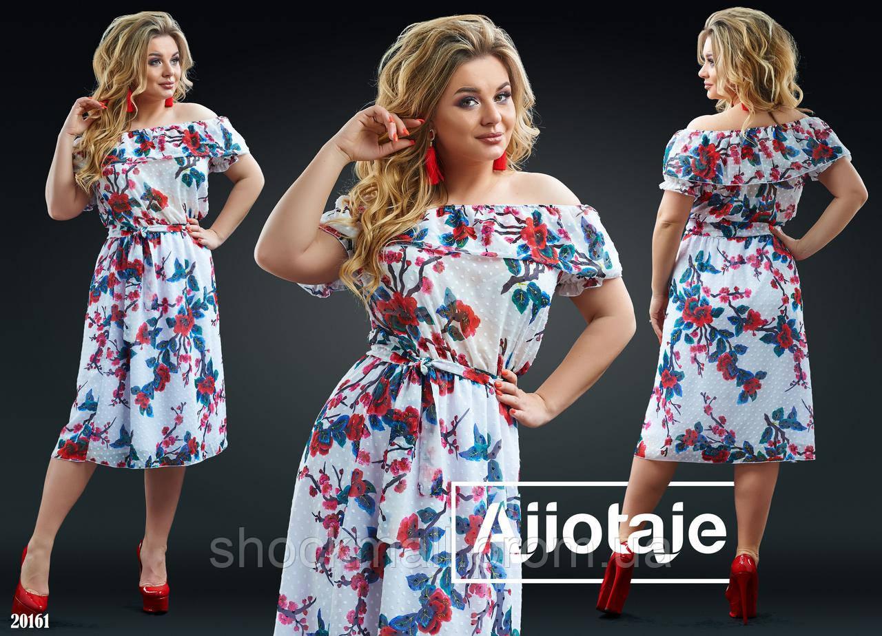 e280b47024fc069 Купить Белое шифоновое платье в цветы большой размер недорого, выбор ...
