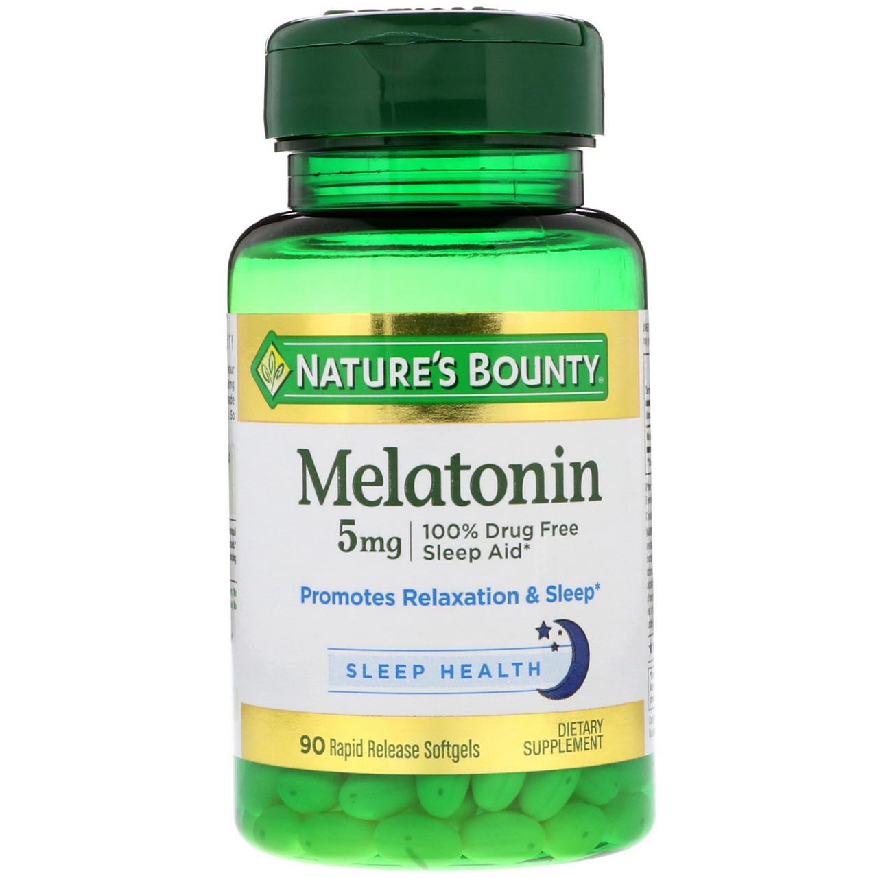 Nature's Bounty, Мелатонин, 5 мг, 90 гелевых капсул