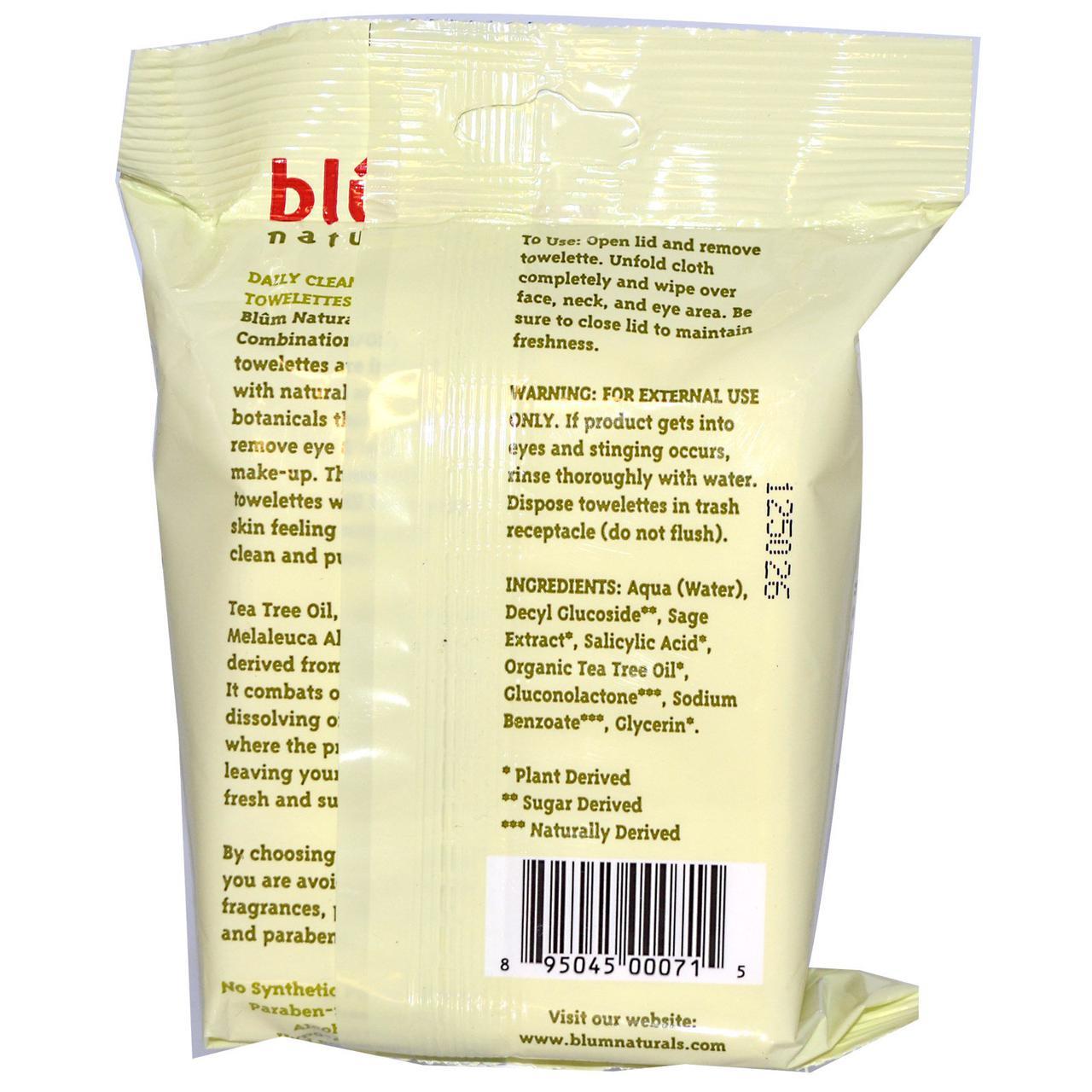 Blum Naturals, Ежедневные очищающие салфетки для снятия макияжа для жирной и комбинированной кожи, чайное дерево, 30 салфеток