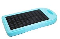 Power Bank (Solar) Переносной аккумулятор на солнечной батарее со светодиодом (5000 mAh):Голубой