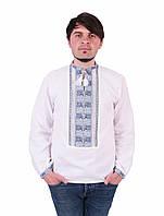 890UAH. 890 грн. В наличии. Біла чоловіча вишиванка на довгий рукав з  блакито-сірим орнаментом ручної роботи. Інтернет-магазин ... 12e5d90f28cb6