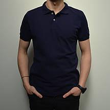 Мужская футболка Поло, размеры:46-56, премиум качество, 100% хлопок, тенниска однотонная - темно синяя, фото 2