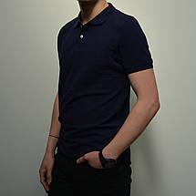 Мужская футболка Поло, размеры:46-56, премиум качество, 100% хлопок, тенниска однотонная - темно синяя, фото 3