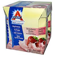 Atkins, Advantage, Клубничный шейк, 4 шейков, 11 жидких унций (325 мл) каждый