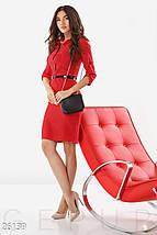 Стильное платье приталенное рукав три четверти миди красное в горох большой размер, фото 3