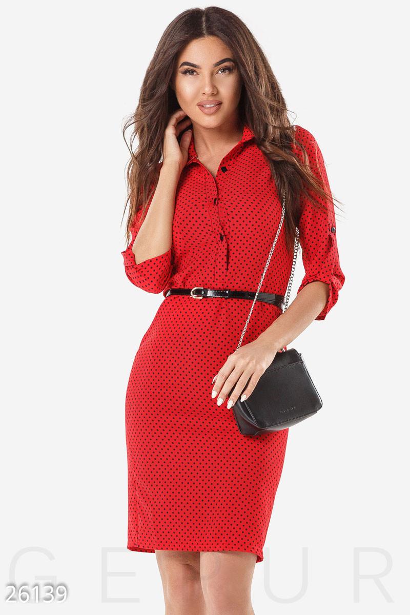 Стильное платье приталенное рукав три четверти миди красное в горох большой размер