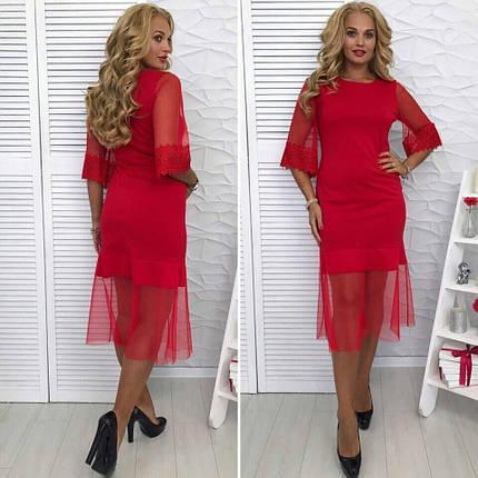 """Изумительное женское платье красное ткань """"Хлопок+стрейч"""" 48 размер батал, фото 2"""