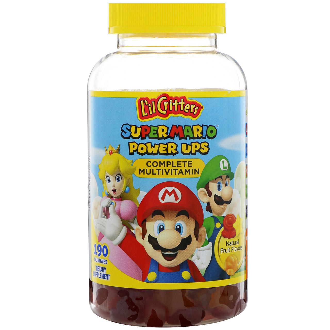 """L'il Critters, Комплекс мультивитаминов """"Подпитка Super Mario"""", натуральный фруктовый вкус, 190 жевательных таблеток"""
