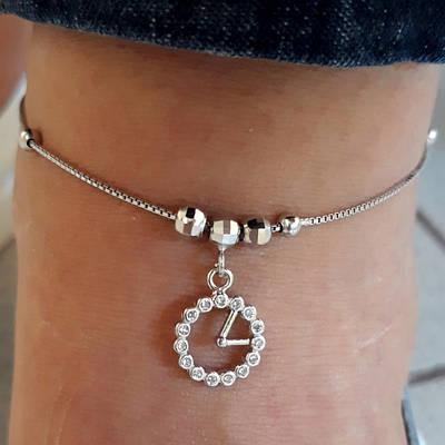 Браслет на ногу срібло 925 проби з висульками Годинник - Срібний браслет на ногу
