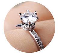 Кольцо с цирконами, покрытие серебром Размер 17 (JZ050-17)