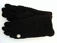 Женские перчатки кашемир + вязка на кролике черные , коричневые