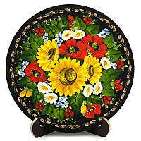 Тарелка декоративная. Украинский сувенир. Петриковская роспись. Осень., фото 1