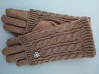 Женские перчатки кашемир + вязка на плюше бежевые,черные